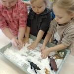 Pasigaminome dirbtinį sniegą. Jame apgyvendinome žvėrelius. Kūrėme jų pėdsakus sniege.