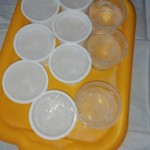Bandėme patys pasigaminti ledo. Į indelius pripylėme švaraus vandens ir, kol visi miegojom, jis sušalo lauke.