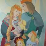 """Susirinkusiųjų  į """"Žilviną"""" laukė netikėtas siurprizas-  ant lopšelio-darželio sienos didžiulė iliustracija, simbolizuojanti Eglės ir Žilvino šeimą.  Dėkojame dailininkei - iliustratorei Rasai Narbutaitei!"""
